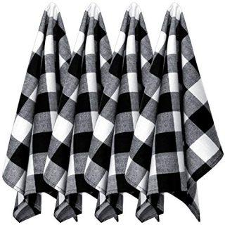 4 Pack Buffalo Plaid Dish Towels Cotton