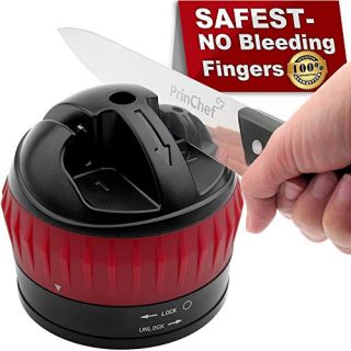Anti-Cut Knife Sharpener with Non-Slip Suction Cup, Hand-Free 2-Stage Professional Kitchen Knife Sharpener, Best Knife Sharpening Tool for Repair/Polish Straight Blade, Easy to Use/Razor Sharp, Black