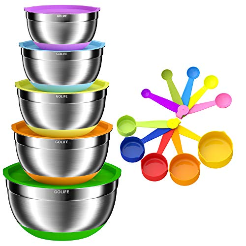 GOLIFE Mixing Bowls Set of 15, Stainless Steel Mixing Bowls with Airtight Lids, Measuring Cups and Spoons Set, Measurement Marks & Non-Slip Bottoms,(6, 3.5, 2.5, 2.0, 1.5 QT) for Mixing & Serving