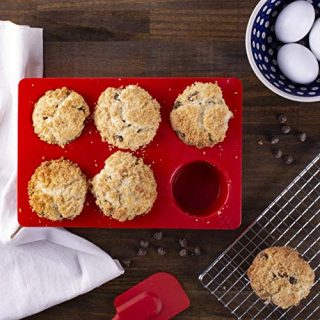 Mrs. Anderson's Baking 43629 6-Cup Jumbo Muffin Pan, Non-Stick European-Grade Silicone