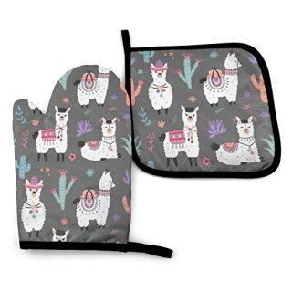 MSGUIDE Cartoon Llama Alpaca Oven Mitts and Pot Holders, 356℉ Heat Resistant Oven Gloves Soft Cotton Lining Gloves for Kitchen, Cooking, Baking, Grilling, BBQ