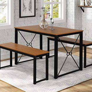 Danxee 3 Piece Dining Set Modern Studio Collection Soho Dining Table Kitchen Table with Benches (Black X Shape)