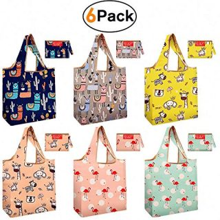 Shopping Bags Reusable Grocery bags Totes 50 lbs Packable Recyclable Machine Wash Flat Bottom Light Weight Flamingo Cactus Giraffe