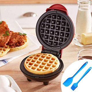Electric Mini Waffle Maker, Portable Non-Stick Round Waffle Maker for Individual Waffles Paninis, Hash Browns Breakfast Red 1 Pack