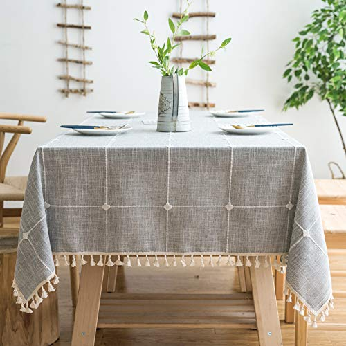 """Oubonun Rustic Lattice Tablecloth (55""""x70"""") Cotton Linen Grey Rectangle Table Cloths for Kitchen Dining"""