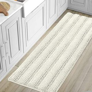 Bath Mats for Bathroom Non Slip Luxury Chenille Striped Bath Rug Runners Large 59x20 Absorbent Non Skid Fluffy Soft Shaggy Rugs Washable Dry Fast Plush Carpet Mats for Bath Room, Tub - Ivory
