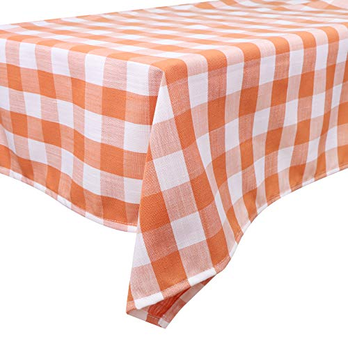 LOCOLO 24 x 47 Inch Checkered Tablecloth - Orange and White Rectangle Tablecloth, Stain Resistant, Spillproof and Washable Gingham Table Cloth for Outdoor Picnic, Kitchen and Holiday Dinner