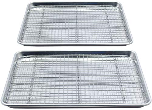 Checkered Chef Stainless Steel Baking Sheets With Racks - Twin Set - 2 Heavy Duty Warp Resistant Half Sheet Pans for Baking with 2 Oven Safe Baking/Cooling Racks