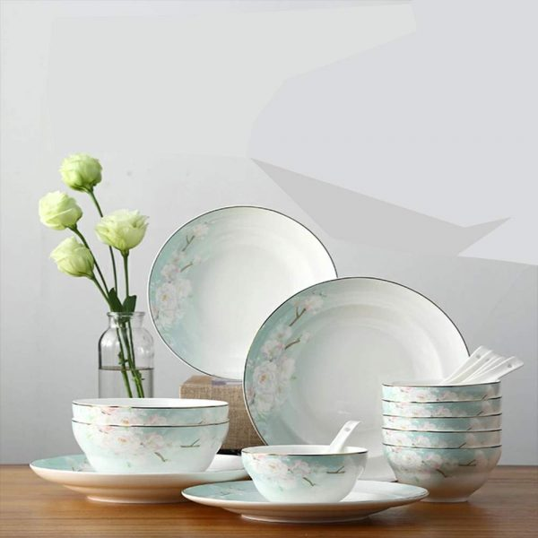 Songfa 18-Piece Kitchen Dinnerware Set SF-0692 for 6, Dishes, Bowls, Spoons, Bone China