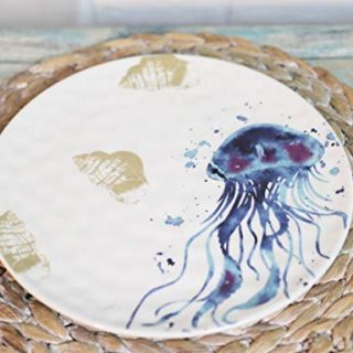 """Ebros Nautical Marine Coastal Blue And White Pacific Sea Nettle Jellyfish Ceramic Dinnerware For Beach Party Hosting Kitchen And Dining Serveware (Salad Dessert Appetizer Plates 8.75""""D Pack Of 2)"""