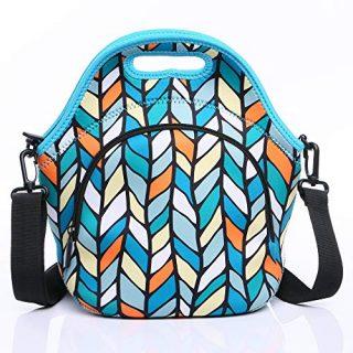 AllFlash Neoprene Lunch Bag, Reusable Insulated Thermal Lunch Bag Small Neoprene Lunch Box Carry Case Handbags Tote for Kids, Girls, Boys and Women (Leaves, Leaves)