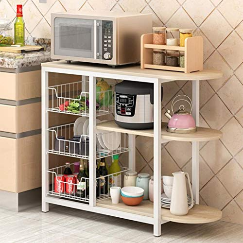 Goldweather Kitchen Baker's Rack, 3-Tier Microwave Oven Stand Utility Shelf with Storage, Kitchen Storage Cart Table for Small Spaces, Simple Assembly Organizer Workstation Shelf (White)