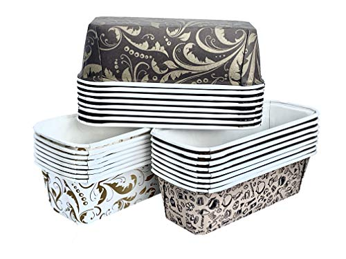 "Paper Loaf Pan, Disposable Paper Baking Loft Mold 24ct, All Natural Recyclable, Microwave Oven Freezer Safe, Providing Beautiful Display For Baked Goods 6-1/4"" x 2-1/8"" x 2"""