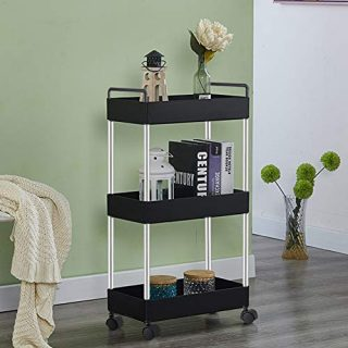 Storage Cart 3-Tier Mobile Shelving Unit Organizer Slide Out Storage Rolling Utility Cart Tower Rack for Kitchens,Bathrooms,Garages, Laundry Rooms,Offices,Between your Washer and Dryer. Black