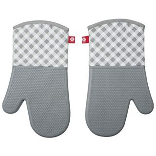 EJOY Non-Slip Silicone Kitchen Oven Mitts for Cooking, Baking, BBQ | Grey | Set of 2