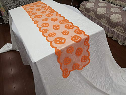 Pumpkin Orange Table Runners Polyester Lace for Halloween Table