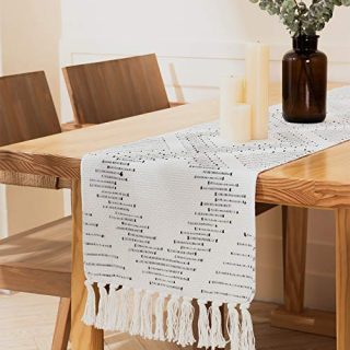 """ALIBALA Boho Cotton Woven Table Runner with Tassel, Handmade Farmhouse Natural Rustic Table Runner for Dining Wedding Party Décor, 12""""x71"""" (Off White)"""