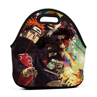 Teens Boys Cool Thermal Reusable Eco Friendly Food Bags, Portable Picnic Warm Container, Anime Naruto Akatsuki Fan Painting Comic Lunch Box for College Office Outdoors