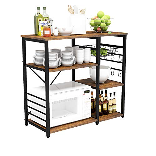 Mecor Industrial Kitchen Backer's Rack, 3-Tier Microwave Oven Stand Utility Storage Shelf w/Shelf, Wire Basket, Hooks, Coffee Bar Tablle Metal Frame, 35.5'', Black