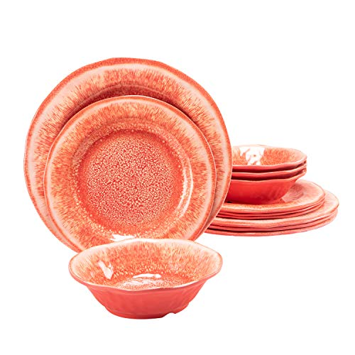 Melamine Dinnerware Set 12 Pcs Durable Dishware Plate Bowl Set Dishwasher Safe Shatter Proof Chip Resistant Not Microware Not Oven(Red)