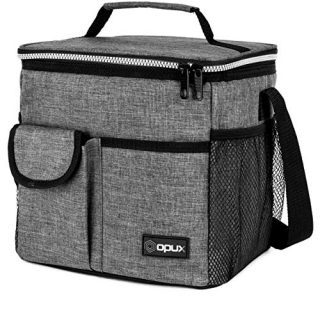 OPUX Lunch Bag Insulated Lunch Box for Women, Men, Kids | Medium Leakproof Lunch Tote Bag for School, Work | Lunch Cooler with Shoulder Strap, Pocket | Fits 20 Cans (Tall Grey)