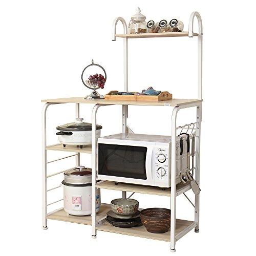 sogesfurniture 3-Tier+4-Tier Kitchen Baker's Rack Utility Storage Shelf Microwave Stand 35.4 inch Storage Cart Workstation Shelf,White Maple BHUS-172-