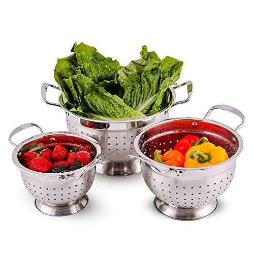 Ovente Stainless Steel Deep Colander 3 Piece Kitchen Strainer Set, Dishwasher Safe 1.5, 3, and 5 Quart Bowl Drainer with Handle & Large Stable Base for Flour Sifter, Pasta, Vegetable, Silver