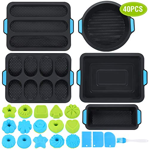 Duerer Silicone Bakeware Set, Cake Molds for Baking, Nonstick Baking Pans Tray, Food Grade Donuts Toast Muffin Pizza Tiramisu Mold Best Gift for Party, BPA Free
