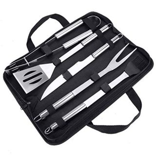 BestFire Grill Accessories, 5 Pcs BBQ Tools Grilling Tools Set with Stainless Steel Knife, Spatula, Tongs, Fork, Silicone Basting Brush for Men Dad Women Outdoors or Kitchen with Grill Case Free
