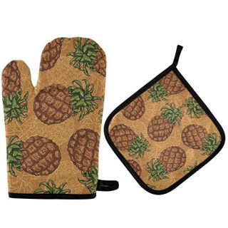 Tekuve Oven Mitts Pot Holders Set - Pineapple Sketch Heat Resistant Potholders Kitchen Hot Pads Grilling Oven Gloves Kitchen Gloves for Cooking BBQ