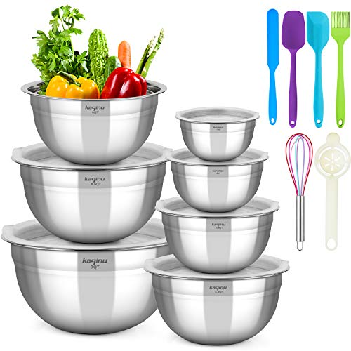 Mixing Bowls Set with Airtight Lids, KAQINU Stainless Steel Metal Nesting Mixing Bowls Set (13 pcs) for Space Saving Storage, Easy Grip & Stability Design Versatile for Cooking, Baking, Prepping