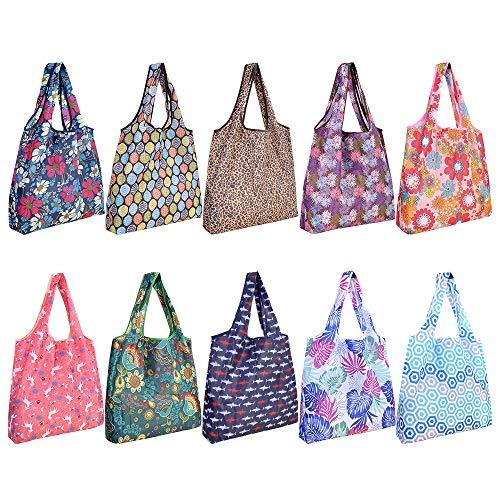 10 Pack Reusable Grocery Shopping Bags, SZUAH Foldable Shopping Bags Grocery Tote with Attached Pouch,Machine Washable Eco-Friendly