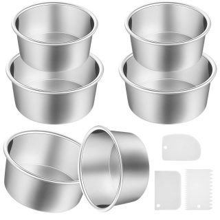 9 Pieces Cake Pan Set Including 3 Pieces 4 Inch Aluminum Baking Cake Pans 3 Pieces 6 Inch Round Cake Pans 3 Pieces Dough Scrapers Non-stick Cheesecake Baking Pans for Home Party Baking Supplies