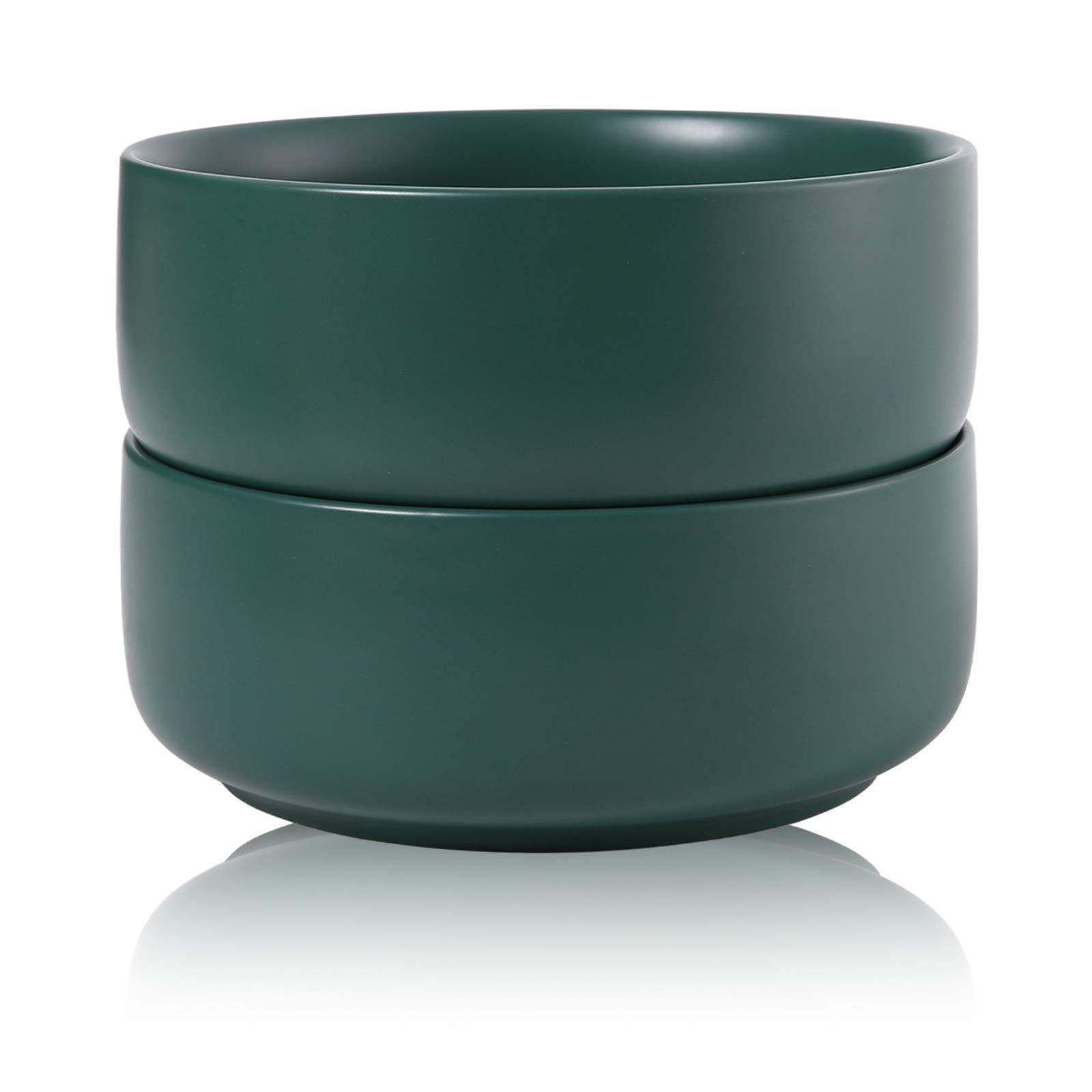 Hompiks Salad Bowl Salad Cereal Bowls Porcelain Bowl Set for Kitchen Soup Cereal 38 oz Dishwasher and Microwave Safe Dark Green