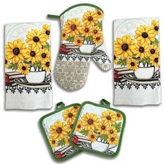 American Mills Yellow Sunflower Decor 5 Piece Printed Kitchen Linen Set Includes Towels Pot Holders Oven Mitt