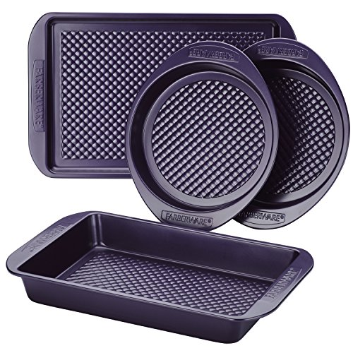 Farberware Nonstick Bakeware Set with Nonstick Cookie Sheet/Baking Sheet, Baking Pan and Cake Pans - 4 Piece, Purple