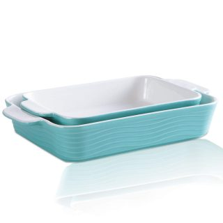 Ceramic Bakeware Set, JH JIEMEI HOME Rectangular Casserole Dish Ceramic Baking Pan for Cooking, Kitchen, Cake Dinner, Banquet and Daily Use, Mint Green