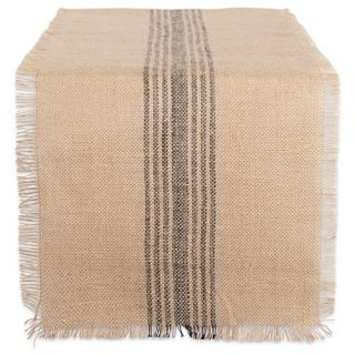 DII CAMZ38415 Mineral Middle Burlap Table Runner, 14 x 72, Center Stripe Gray