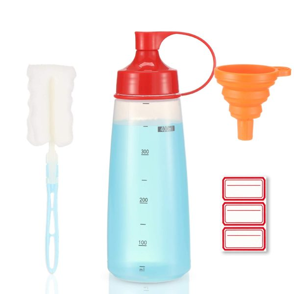 Condiment Squeeze Bottle Wide Mouth, Ondiomn 1 Pack Clear Squeeze Bottles for Condiments, Paint, Ketchup, Mustard, Oil, Sauces, Paint, Resin, Baking, Cake Decorating, Cleaning, BPA Free-Food Grade