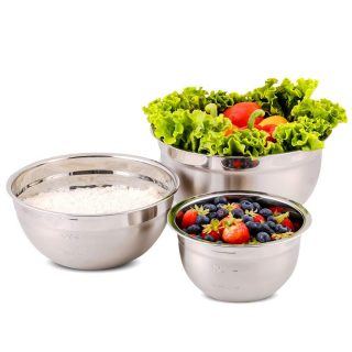 Ovente Stainless Steel Kitchen Mixing Bowl Set with Lid