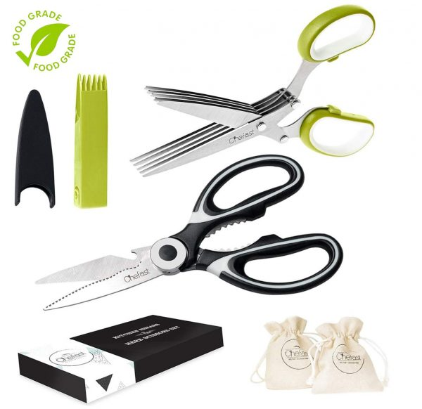 Chefast Heavy Duty Kitchen Shears and Herb Scissors Set: Combo Kit of Stainless Steel Food Scissors, 5-Blade Herb Cutter, and Two Jute Bags - Great for Meat, Poultry, Garden, Cooking and Crafts