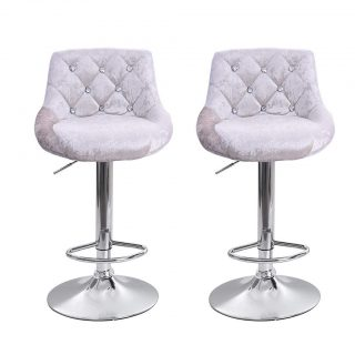 BLACKOBE Bar Stools Set of 2, Flannel Luxury Pub Stools with Diamond Decoration Counter Height Swivel Stool, Kitchen Counter Stools Dining Chairs with Backrest, Silver