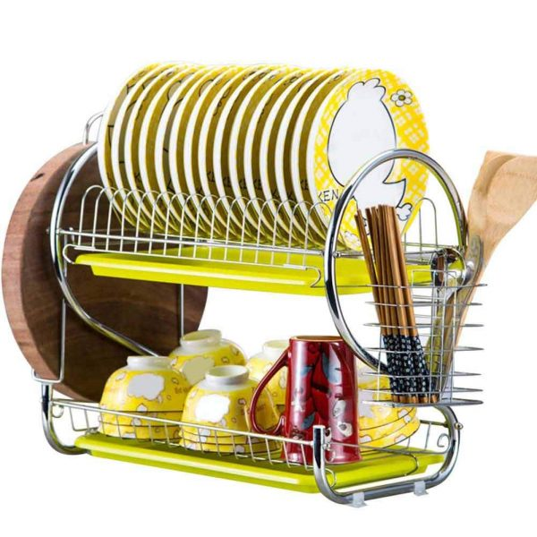 2 Tier R-Shaped Dish Drainer Stainless Steel Drying Rack Cutting board chopsticks cups Bowl racks with Tray Holder Kitchen Dinnerware Organizer Storage (Yellow)