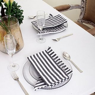 Cotton Dinner Napkins Black & White Stripe