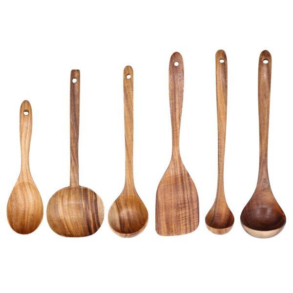 Natural Acacia Wood Long Handle Non-Stick Kitchen Cooking Utensil Set