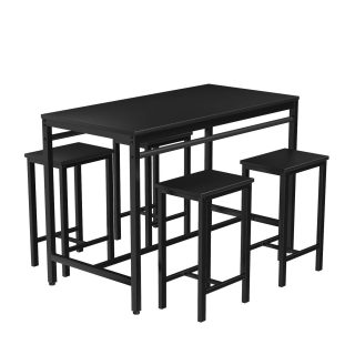 DKLGG Dining Table Set, 5 Pieces Kitchen Table and Chairs for 4 Modern Counter Height Pub Perfect for The Bar, and Kitchen Room (Black)