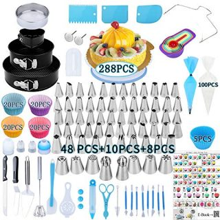 Cake Decorating Supplies, 288 PCS Baking Supplies Kit with 3 Springform Pan Sets, 58Icing Piping & 8Russian Nozzles, Cake Rotating Turntable, 100Piping Bags, 85Muffin Cup Molds, Thanksgiving Gift