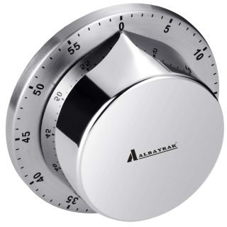 Albayrak Kitchen Timer, Chef Cooking Timer Clock with Loud Alarm, No Batteries Required, 100% Mechanical - Magnetic Backing, Exquisite Stainless Steel Body - Countdown Reminder
