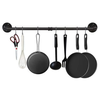 EGASON 34.3 inch Industrial Pipe Pot Bar Rack with 15 S Hooks Rustic Iron Pots and Pans Hanging Rail Pipe Towel Rack Holder Wall Mounted Detachable Kitchen Utensil Pot Pan Lid Organizer Black