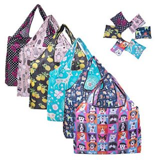 Tote Bag Foldable 6 pack Reusable Grocery Shopping Bags Cute Colorful Design Bags for Groceries Shopping Trip